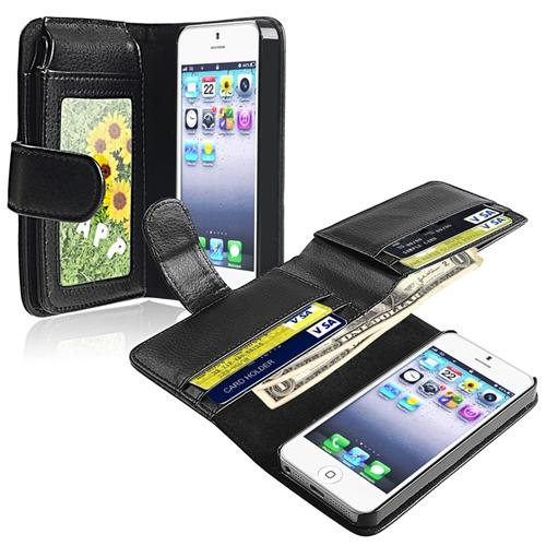 Insten Leather Case with Wallet for Apple iPhone 5 / 5s Black
