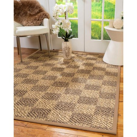 Wheat Natural Wood - Natural Area Rugs  100%, Natural Fiber Handmade Parson, Brown/Multi Sisal Rug, Wheat Border - 3' x 5'