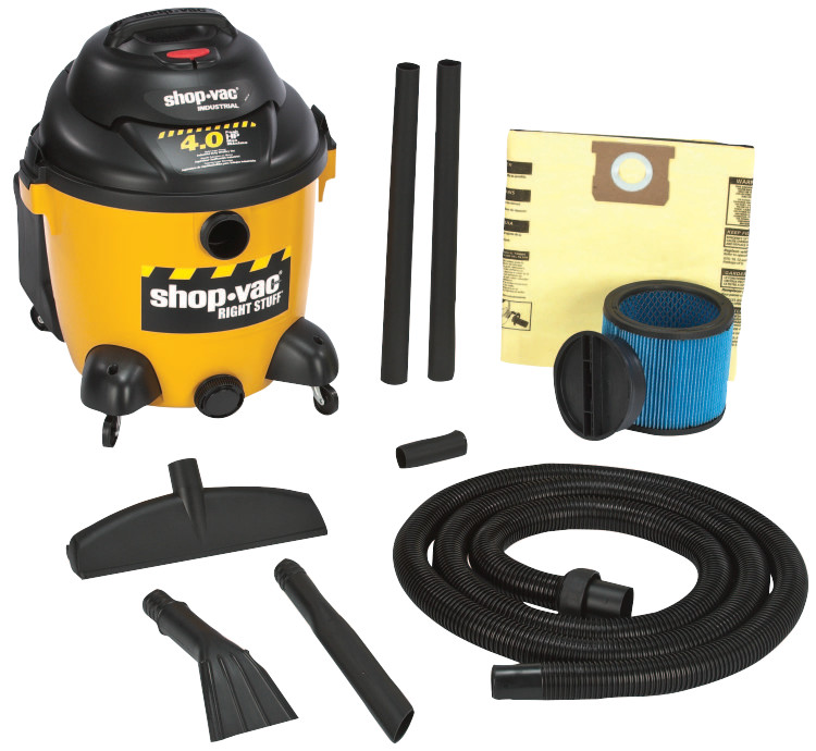 The Right Stuff Series Industrial Wet/Dry Vacuums, 10 gal, 4 hp