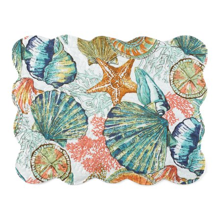 Coastal Shells Pillow Sham Beach Theme Bedroom Décor