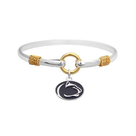 Penn State Nittany Lions Two Tone Silver Gold Cuff Bracelet Charm Jewelry PSU  Officially Licensed NCAA Product Licensed By From The Heart Enterprises