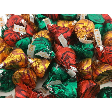Hershey's Kisses Milk Chocolate with Caramel, Christmas candy (Pack of 2 - Xmas Candy