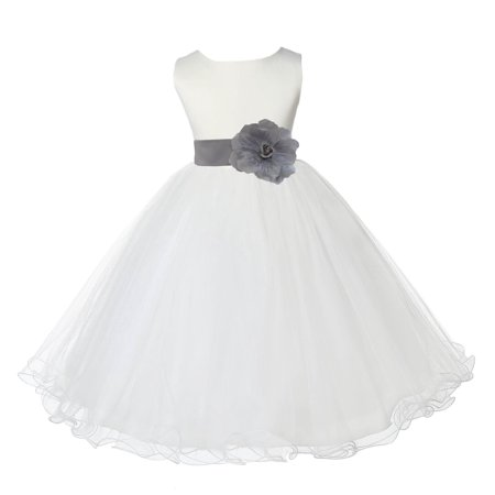 Ekidsbridal Satin Ivory Silver Tulle Rattail Edge Christmas JuniorBridesmaid Recital Easter Holiday Wedding Pageant Communion Princess Birthday Girls Clothing Baptism 829S size 8 Flower Girl Dress