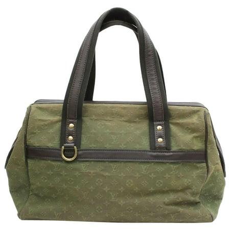 Louis Vuitton Green - Josephine Khaki Monogram Mini Lin Gm Large Boston 870043 Green Canvas Satchel