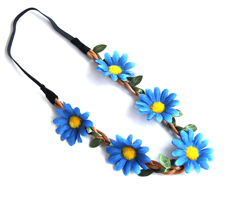 Bohemian Floral Daisy Flower Headband Garland Crown for Festival Party or Beach
