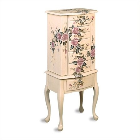 Painted Wide Armoire - Bowery Hill Hand Painted Rose Pattern Jewelry Armoire in White