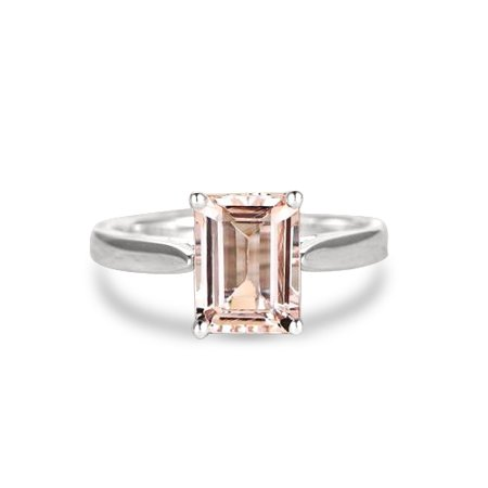1 Carat Emerald Cut Peach Pink Morganite Solitaire Engagement Ring in 10k White