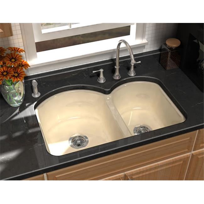 SONG S-8240-5U-51 Cast Iron Kitchen Sink in Black with 5 Faucet Holes
