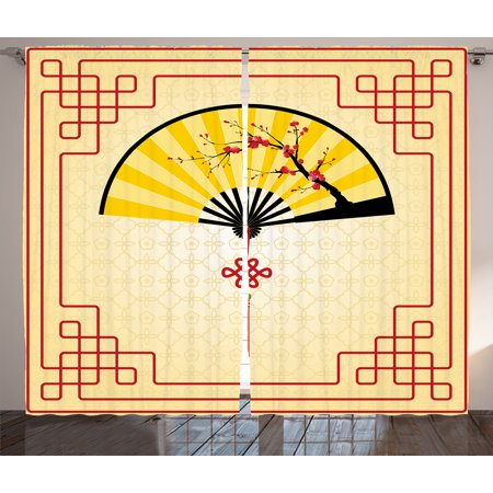 Asian Curtains 2 Panels Set, Japanese Culture Hand Fan with Cherry Blossom and Traditional Lines Design, Window Drapes for Living Room Bedroom, 108W X 90L Inches, Sand Brown Yellow Red, by Ambesonne - Asian Fan