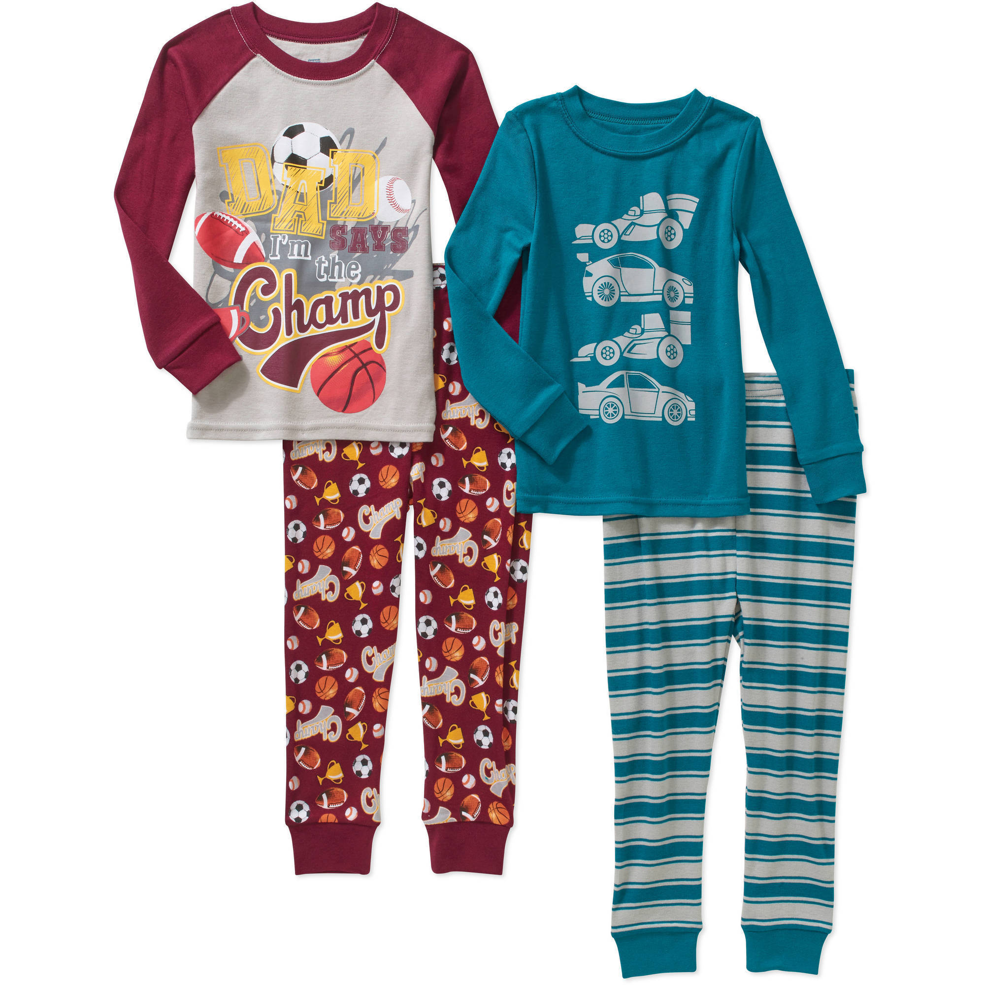 Baby Toddler Boys' Cotton Tight Fit Pajamas, 4-Piece Set