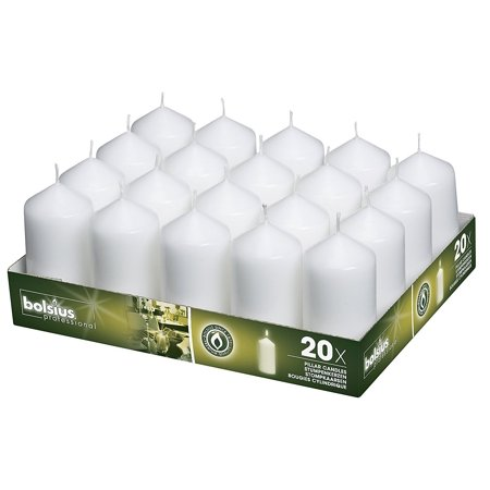 Bolsius Tray Of 20 White Pillar Candles Aprox. 2X4 Inches (Candle Tray Round)