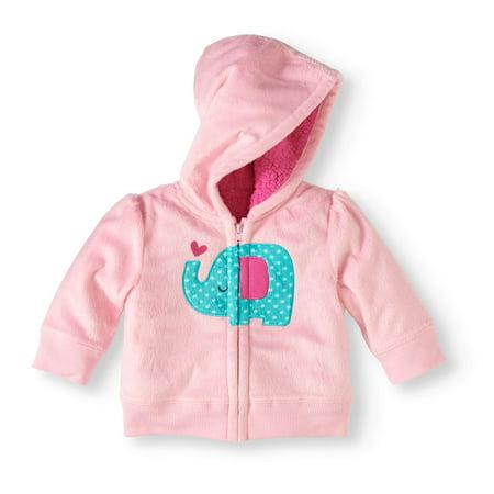 6a812f15a Healthtex - Newborn Baby Girl Fleece and Sherpa Hoodie - Walmart.com