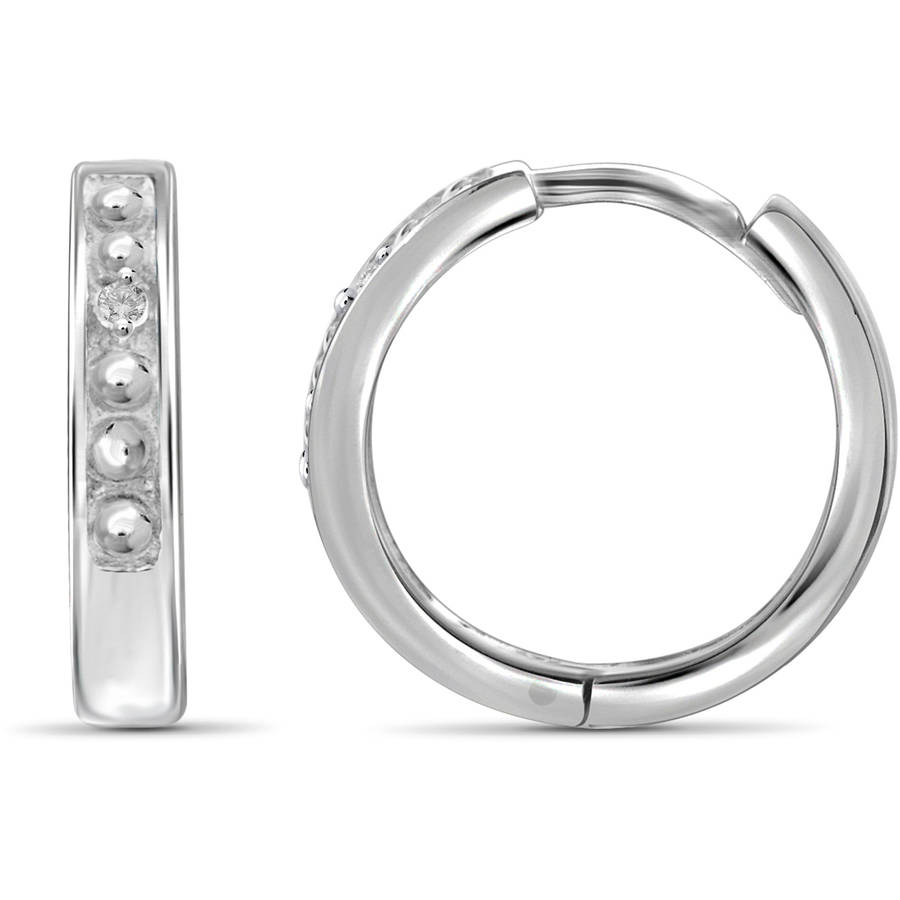 JewelersClub White Diamond Accent Sterling Silver Inset Hoop Earrings