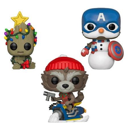 Funko POP! Marvel Holiday Marvel Collectors Set 2 - Groot, Rocket, Captain America Rocket Collector Series
