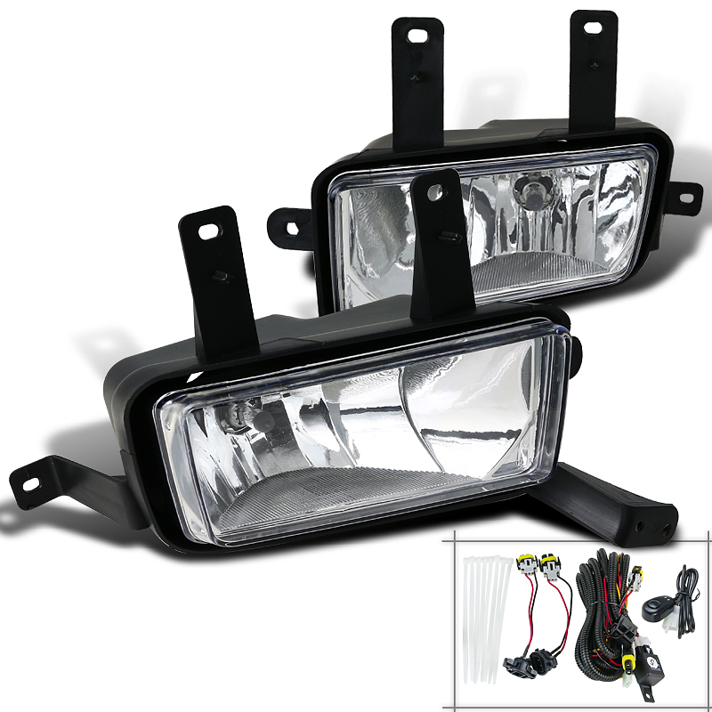 Spec-D Tuning 2015-2018 Chevy Suburban Tahoe Clear Lens Style Fog Lights W/Switch + Bulbs 15 16 17 (Left + Right)