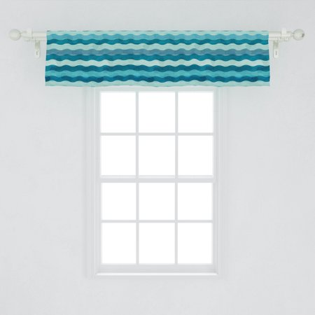 Abstract Window Valance, Ocean Themed Wave Design Marine Artwork Aquatic Color Palette Horizontal Lines, Curtain Valance for Kitchen Bedroom Decor with Rod Pocket, by Ambesonne