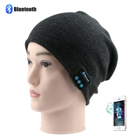 Dolida Bluetooth Wireless Music Beanie Hat Women Men Winter Knitted Hat Trendy Cap with Microphone & Stereo Headphones Headset for Sport Running Dancing, Built-in Mic D-Grey (Best Christmas Gift)