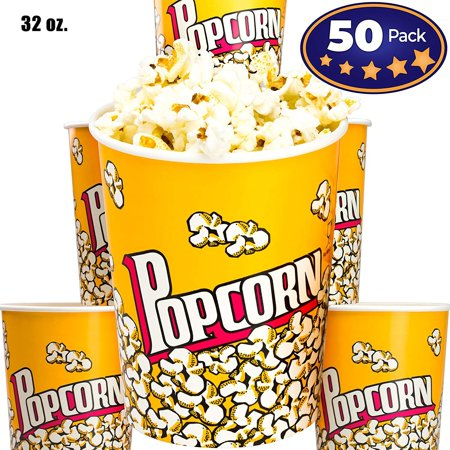 Premium Leak-Free 32 Oz Disposable Popcorn Cup 50 Pack By Avant Grub. Stackable Buckets With Fun Design. Great For Concession Stands, Carnivals, Fundraisers, School Events, Or Family Movie Nights. - Disney Halloween Popcorn Bucket
