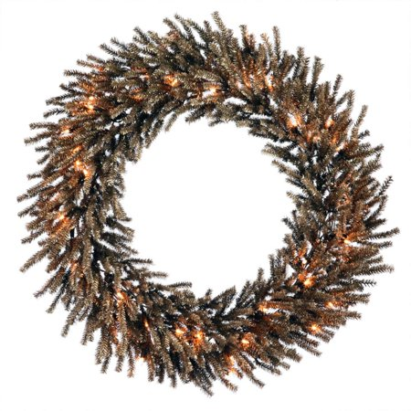 "24"" Pre-Lit Sparkling Chocolate Brown Artificial Christmas Wreath - Clear Lights"