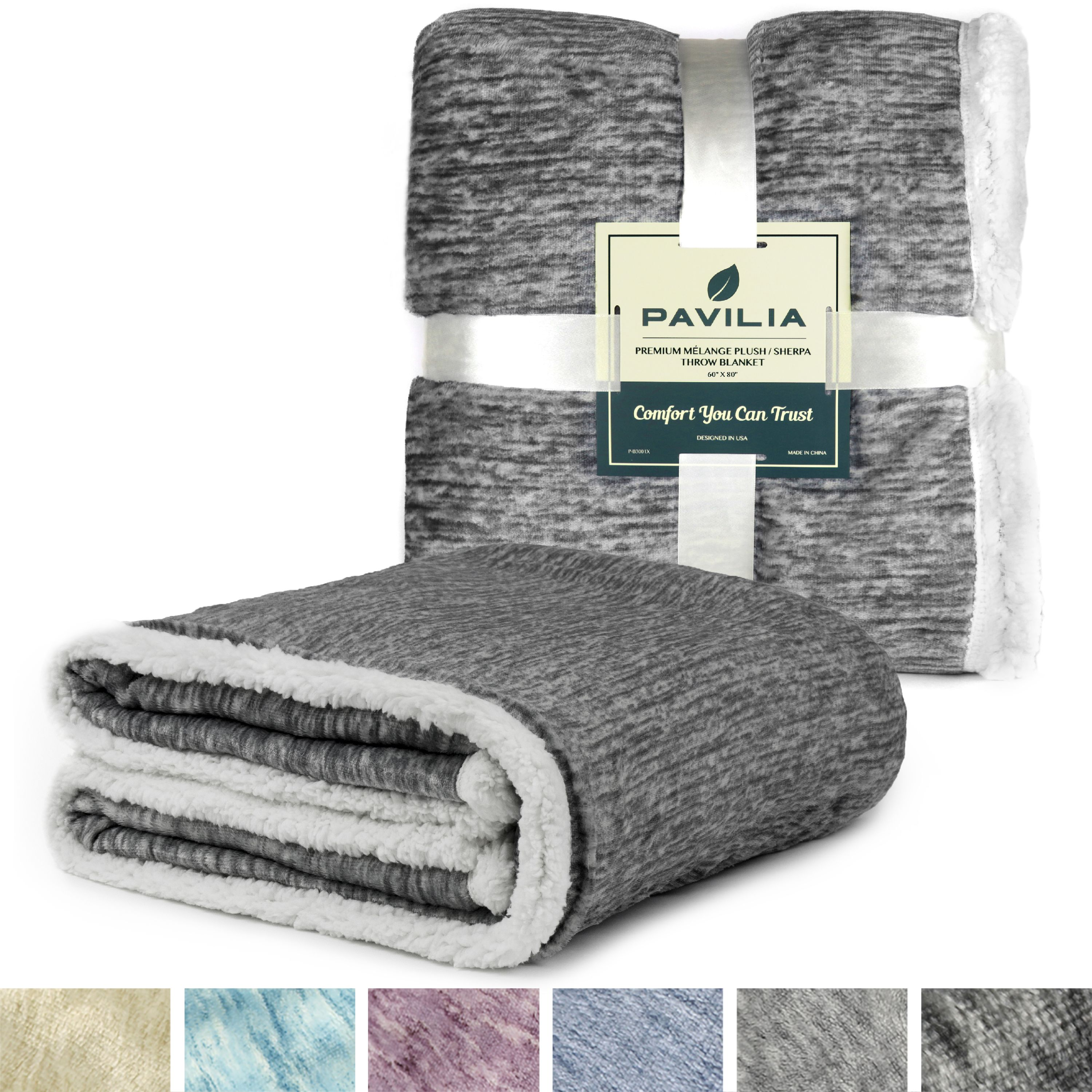 Pavilia Melange Sherpa Fleece Blanket Twin Size Super