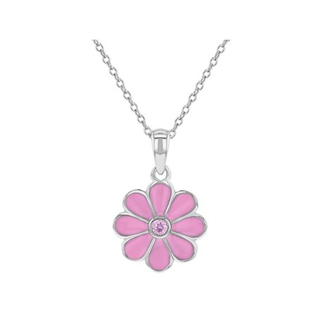 925 Sterling Silver Pink CZ Enamel Daisy Flower Necklace Pendant for Girls