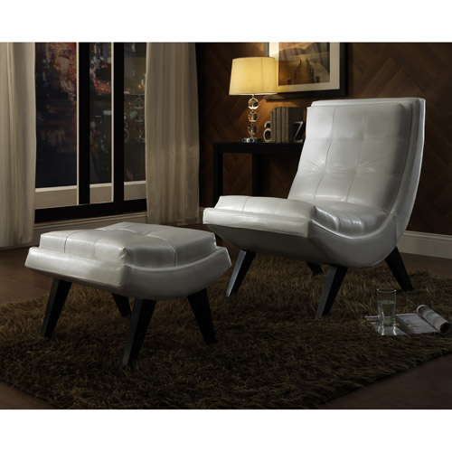 Tufted Occasional Chair and Ottoman, White
