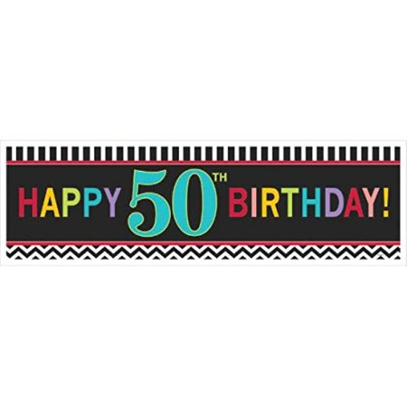 Amscan The Party Continuous 50th Birthday Party Giant Sign Banner Decoration, Multi, 65