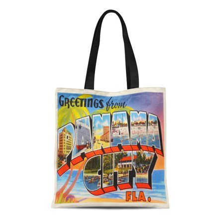 LADDKE Canvas Tote Bag Greetings Panama City Florida Fl Old Vintage Travel Reusable Handbag Shoulder Grocery Shopping Bags (Panama City Stores)