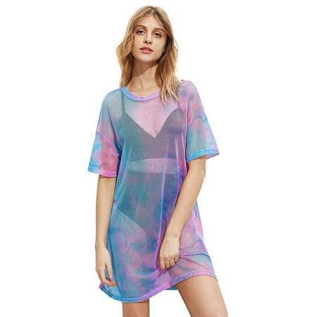 Women's Beach Cover Ups Short Sleeve See Through Sheer Mesh T Shirt Dress - Cool Dress Ups