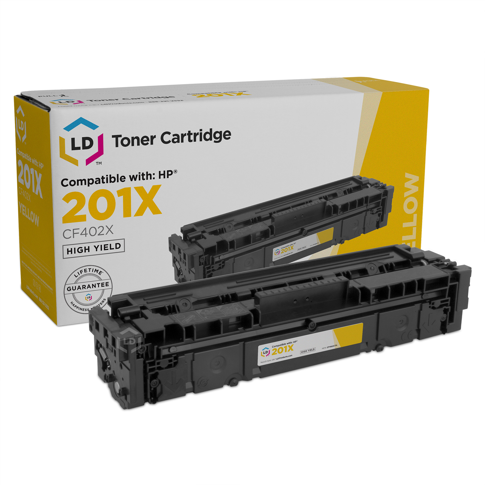 Compatible Toner Cartridge for HP 201X High Yield Yellow, 2,300 Page Yield (CF402X)