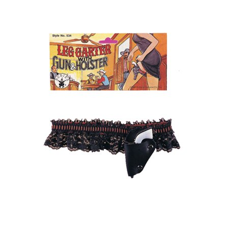 Garter Belt and Gun Set Flapper Lace Black and Red Sexy Halloween Accessory