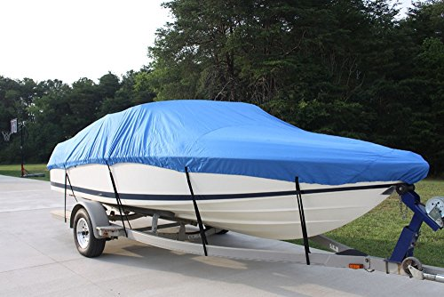 "New VORTEX 5 YEAR CANVAS HEAVY DUTY BLUE VHULL FISH SKI RUNABOUT COVER FOR 26 to 27 to 28' FT BOAT, IDEAL FOR 108""... by VORTEX DIRECT"