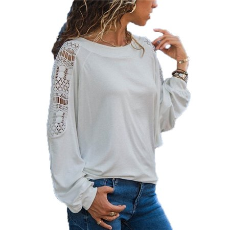 Women Fashion Round Neck T-shirt Casual Long Sleeve Tops Ladies Fashion Loose Shirts Pure Color Lace -