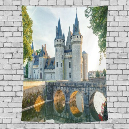 Castle Bedroom (POPCreation Gothic Castle Tapestry Elegant Landscape Sunset Castle Fabric Tapestry Throw Dorm bedroom Art Home Decor Tapestry Wall Hanging 40x60 inches)