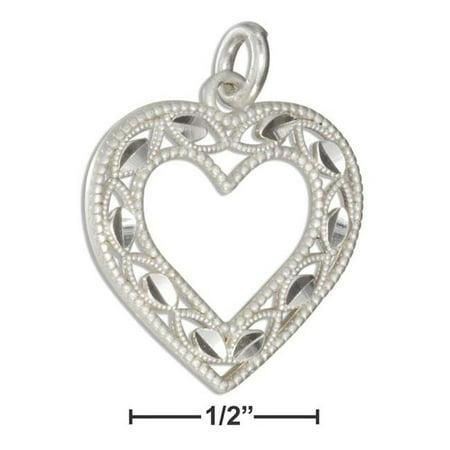 Sterling Silver Diamond Cut Open Heart Charm Diamond Cut Animal Charm
