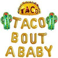 Taco Bout A Baby Balloon Gold Foil Banner Sign for Mexican Fiesta Cactus Themed Party Supplies Gender Reveal Baby Shower Decorations Gold Letter Balloon