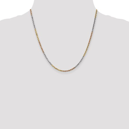14k Tri Color Yellow White Gold 2.5mm Link Rope Necklace Chain Pendant Charm Handmade Fine Jewelry Gifts For Women For Her - image 5 of 9