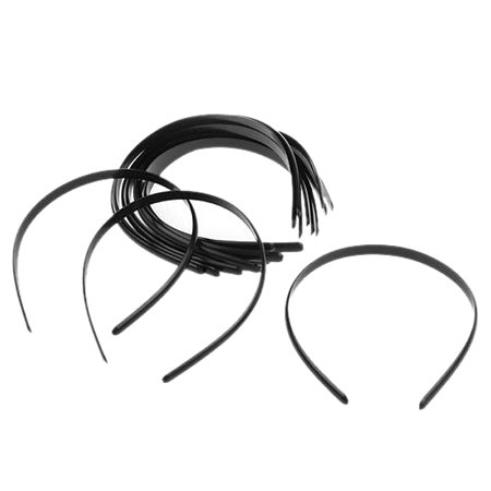 Headwear Headband - 12pcs Women's Girls Plain No Teeth Plastic DIY Hair Bands Headbands Headwears (Black)