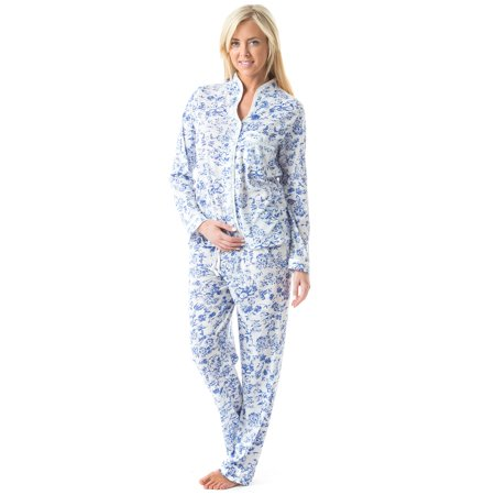 Casual Nights Women's Long Sleeve Floral Lace Trim Pajama Set