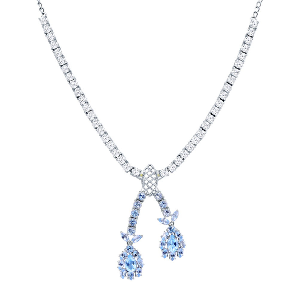 Orchid Jewelry Solid Sterling Silver 26 2 7 Carat Blue Topaz, White Topaz, Diamond Statement Necklace by Orchid Jewelry Mfg Inc