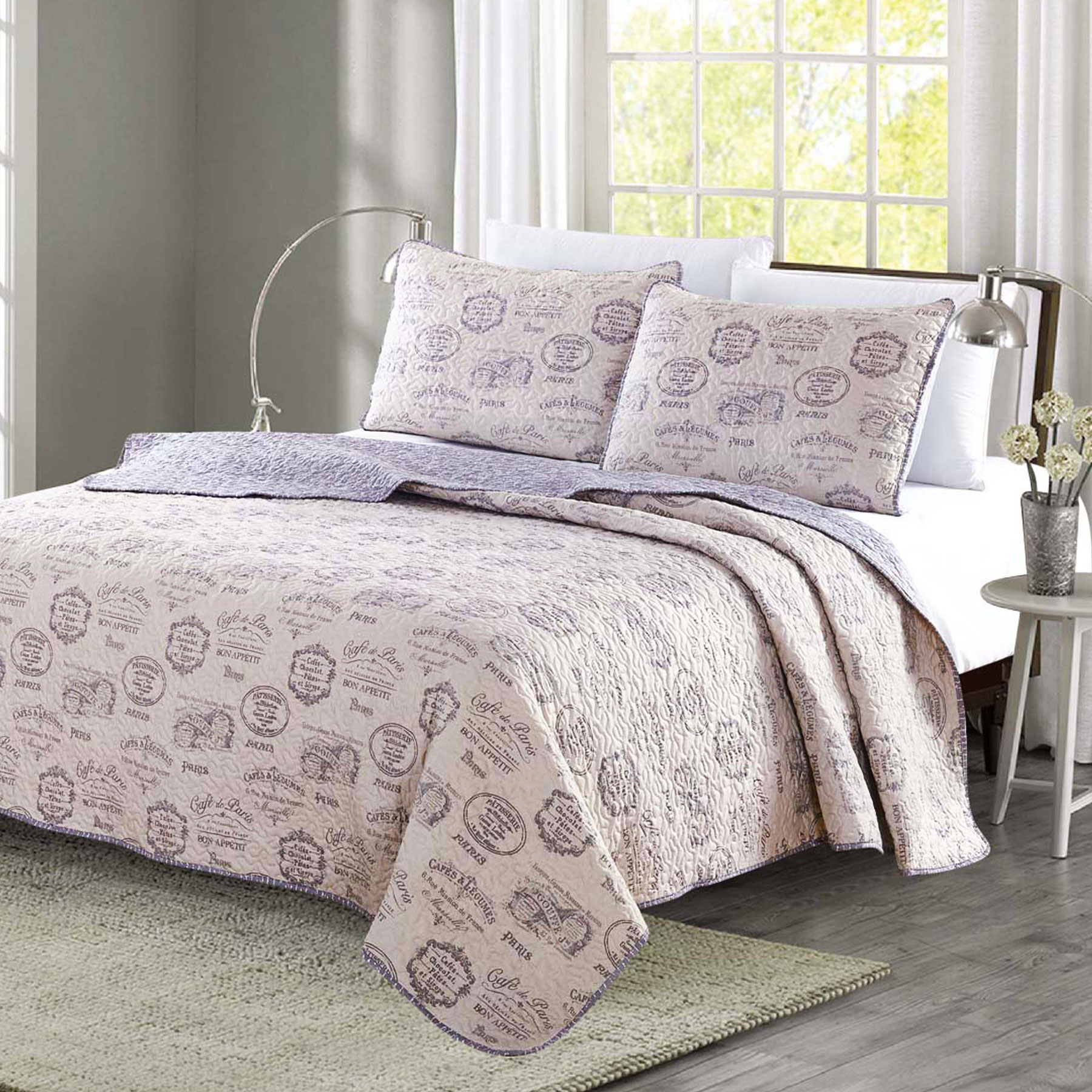 King Quilt 3 Piece Set Café de Paris Taupe Gray Coverlet Bedspread by