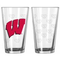 Wisconsin Badgers Satin Etch Pint Glass Set