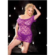 Shirley of Hollywood SOH-96351Q Stretch lace chemise and Panty Hot Pink / Q/S