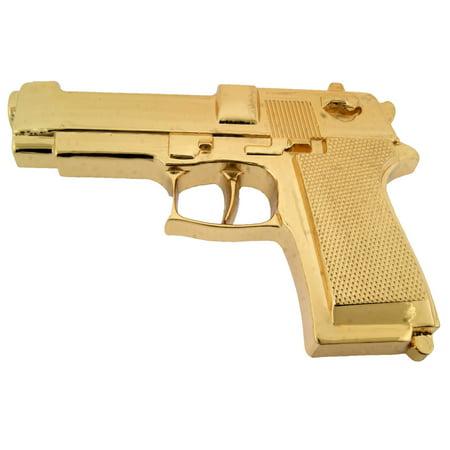Gun Belt Buckle Western Cowboy Cowgirl Huge Heavy Jumbo Gold Plain Metal Fashion (Plain Buckle)