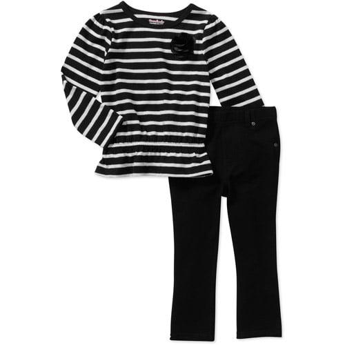 Garanimals Baby Girls' 2 Piece Stripe Peplum Tee and Jegging Set