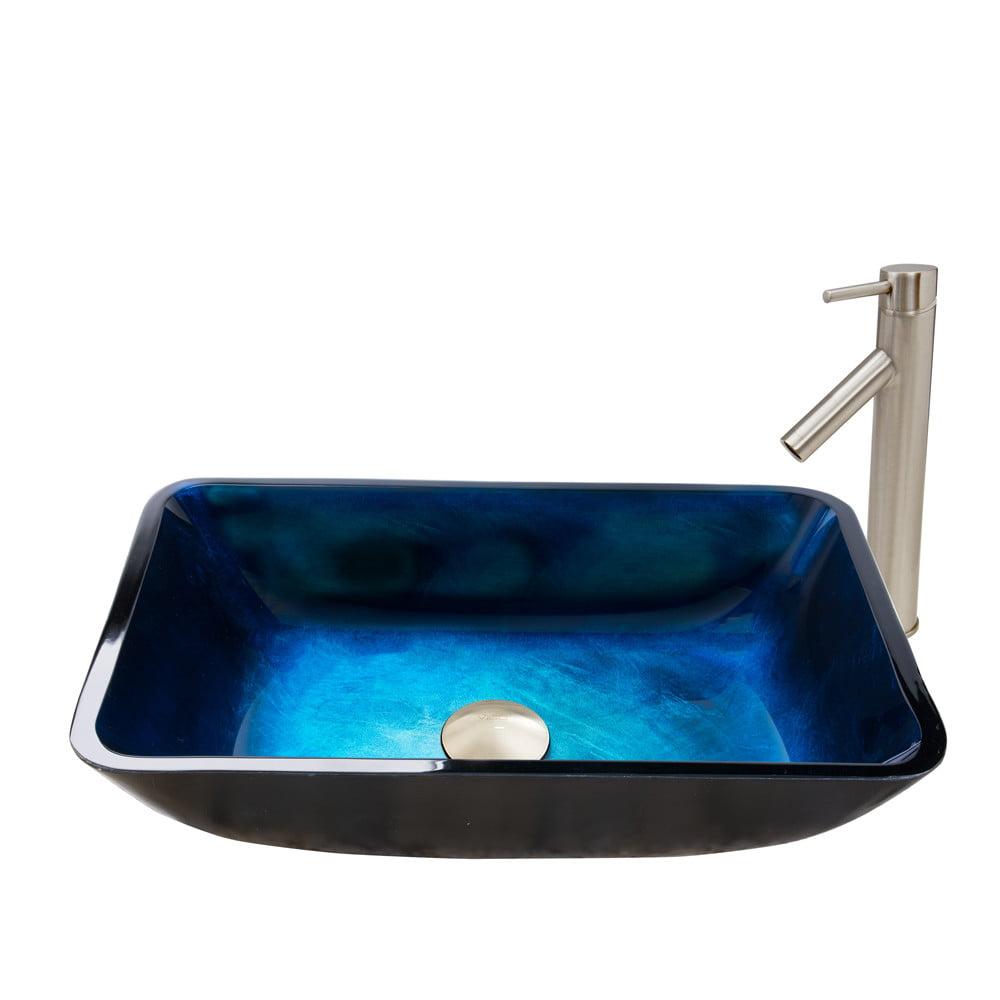 Vigo Glass Rectangular Vessel Bathroom Sink With Faucet Walmart Com Walmart Com