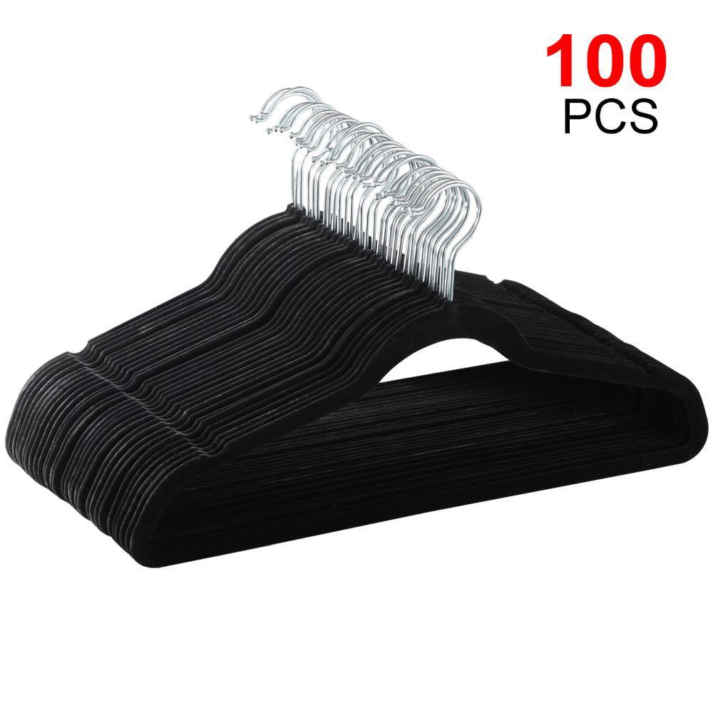 100X 360 Degree Non Slip Velvet Clothes Suit/Shirt/Pants Hangers Black