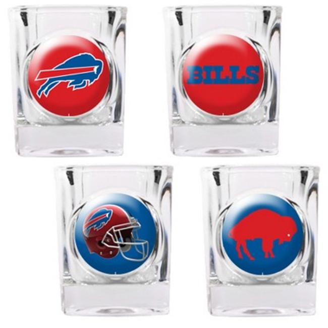 Great American Products 41123 4pc Collectors Shot Glass Set- Buffalo Bills