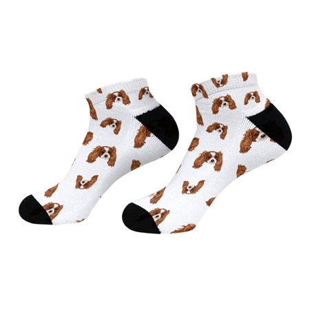 WIRESTER Novelty Socks for Women's Micro Crew Dress Socks, Cavalier King Charles Spaniels Dog (Bichon Frise And Cavalier King Charles Spaniel)