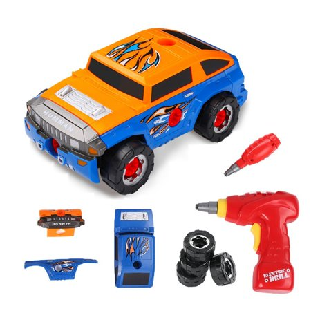 Virhuck 2 In 1 Take Apart Toys Electric Realistic Engine Sounds & Drill Racing Car Vehicles Tpy for Kids,Two Color Shell,Orange and Blue